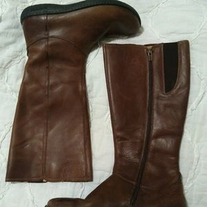 Birkenstock tall brown leather boots